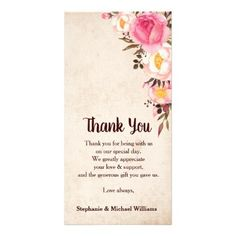 Rustic Country Floral Wedding Thank you card - rustic country gifts style ideas diy