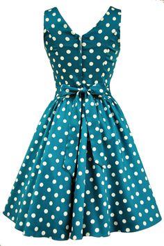 Jade Green Polka Dot Tea Dress : Lady Vintage