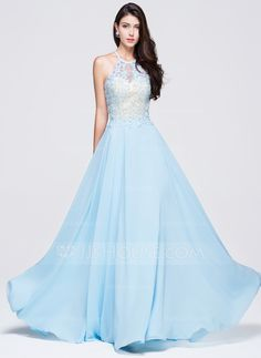 A-Line/Princess Scoop Neck Floor-Length Beading Appliques Lace Sequins Zipper Up Spaghetti Straps Sleeveless No Sky Blue Spring Summer Fall General Plus Chiffon Prom Dress