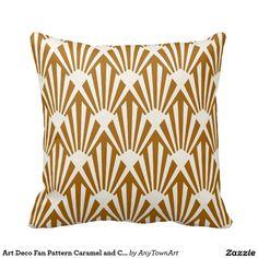 Art Deco Fan Pattern Caramel and Cream Pillows