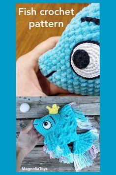 Crochet Patterns Amigurumi, Crochet Toys, Crocheted Animals, Double Crochet, Single Crochet, Handmade Toys, Handmade Ideas, Etsy Handmade, Crochet Fish