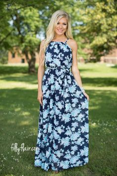 Days in Floral Maxi in Blue - Maxi - Dresses