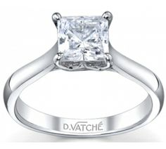 Vatche Engagement Rings, Royal Crown Princess Diamond Engagement Ring # 1019