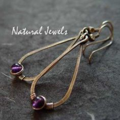 Hammered Drops with Amethyst - Sterling silver earrings with a bead of Amethyst - Made by Natural Jewels