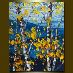 Original Autumn Birch Landscape Painting Oil on Canvas