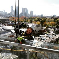 Give us a smile Nate #absafe #abseiling #Melbourne Love that view #petzl #msasafety #irata #workatheights