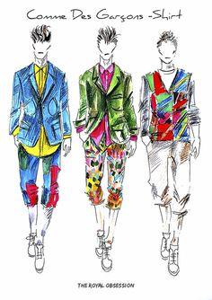 Commes des Garcons Shirt  Menswear Spring 2015. Fashion Illustration by Doryanna Popa.