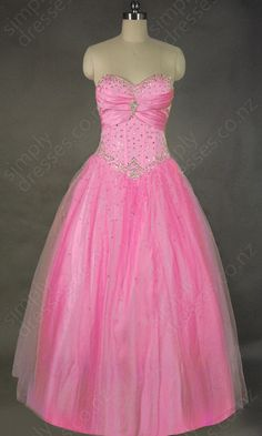 BallGown Sweetheart Tulle Floor-length Beading Evening Dress at simplydresses.co.nz