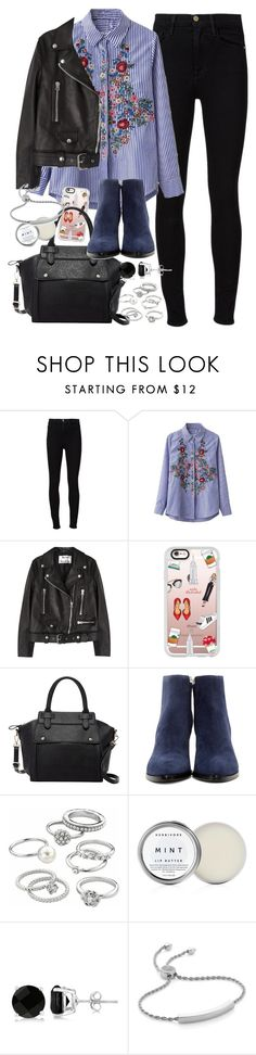 """""""Outfit with a striped embroidered shirt"""" by ferned ❤ liked on Polyvore featuring Frame Denim, Chicnova Fashion, Acne Studios, Casetify, Pink Haley, Alexander Wang, Candie's, Herbivore, Allurez and Monica Vinader"""