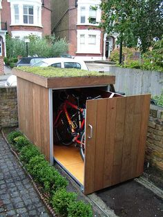Shed Plans Shed Plans and Designs For Easy Shed Building! — RyanShedPlans Great idea for a bike shed! Needs to be lockable thoughGreat idea for a bike shed! Needs to be lockable though Small Storage, Storage Spaces, Hidden Storage, Garage Storage, Diy Storage, Storage Design, Garage Organization, Bike Storage Small Space, Hidden Shelf