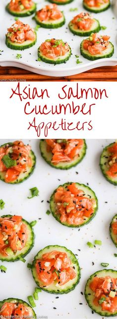 Asian Salmon Cucumber Appetizers - these are so easy to make and perfect for entertaining - only 5 ingredients ~ http://jeanetteshealthyliving.com