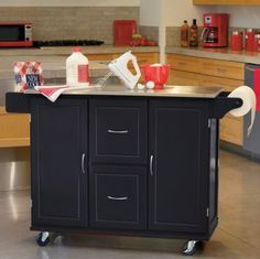 Jefferson Rolling Kitchen Cart with Stainless Steel Top and Towel Rack  found at @JCPenney