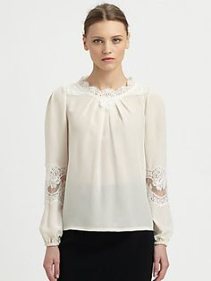 #Dolce & #Gabbana Lace Detail Silk Blouse