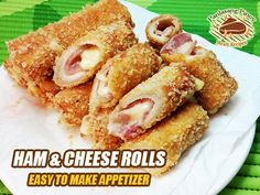 This cooking video is about an easy and tasty crunchy ham and cheese bread rolls. Cooking this appetizer is a good idea specially if you have leftover tasty . Inexpensive Appetizers, Easy To Make Appetizers, Cheese Bread Rolls, Cooking Recipes, Veg Recipes, Pasta Recipes, Pork Roast In Oven, Cheese Rolling, How To Cook Ham