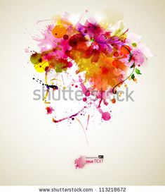 stock vector : Beautiful fashion women with abstract hair and design elements