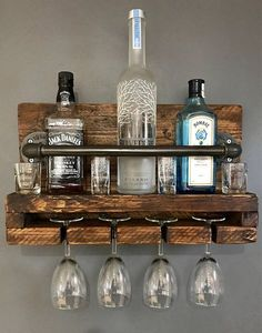 Manufactured in the UK within our workshop, this wine/glass rack will add industrial chic to Wine Glass Rack, Wine Rack Wall, Hanging Wine Rack, Wine Rack Design, Modern Home Bar, Palette Diy, Home Bar Designs, Wooden Pallets, Glass Shelves