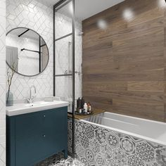 39 Simple Wooden Bathroom Design - Modul Home Design Gray Bathroom Walls, Wall Mounted Bathroom Cabinets, Wooden Bathroom, Small Bathroom, Mirror Bathroom, Paint Bathroom, Floor Mirror, Wall Mirror, Bathroom Cladding