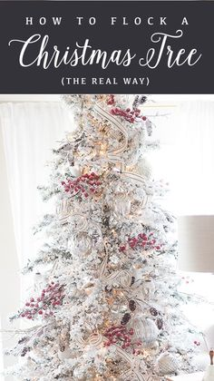 ideas white christmas tree decorations ideas noel for 2019 Flocked Artificial Christmas Trees, White Christmas Tree Decorations, White Christmas Trees, Rustic Christmas, Beautiful Christmas, Flocked Christmas Trees Decorated, Xmas Trees, Artificial Tree, Bedroom Decor