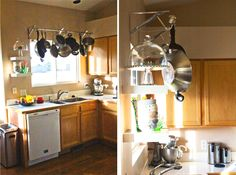 find this pin and more on kitchen diy pot rack - Kitchen Pot Rack Ideas