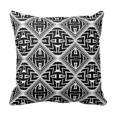 Another great strong design Black White Cushion   Funky Tribal Pattern Pillow  by Webgrrl #zazzle made