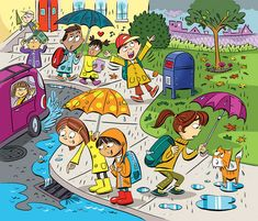 """Highlights Hidden Pictures Puzzles - Find 6 hidden words in """"Fun in the rain. Hidden Words In Pictures, Highlights Hidden Pictures, Hidden Picture Puzzles, Hidden Pics, Communication Orale, Picture Comprehension, Word Challenge, Picture Composition, Picture Writing Prompts"""