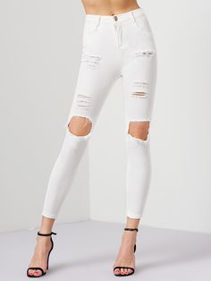 SheIn offers White Ripped Slim Denim Pant & more to fit your fashionable needs. Ripped Knee Jeans, White Ripped Jeans, Ripped Skinny Jeans, Distressed Skinny Jeans, Riped Jeans, Denim Jeans, Denim Blanco, Dress Over Pants, Fall Pants