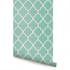 Moroccan Mint Peel and Stick Fabric Wallpaper Repositionable | SimpleShapes - Furnishings on ArtFire