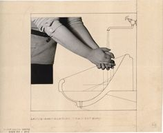 Alvar Aalto, Washbasin for the Tuberculosis Sanatorium  in Paimio, Finland, (1929) Ink, Pencil and photo collage