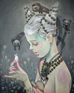 Artist: Chiara Bautista (a.k.a. Milk), mixed media {contemporary fantasy #surreal art female head profile woman face painting}
