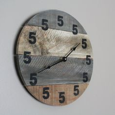 It's 5 O'Clock Somewhere Clock. Wood Clock. Round by terrafirma79