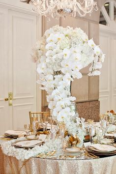 Long Trailing stunning Centerpiece in White Orchids. !