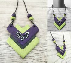 Polymer clay necklace from my new colection. I love it ♥ visit for more info : www.facebook.com/KayaArt