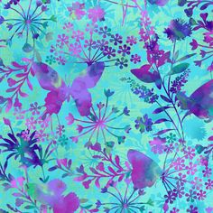 Mariposa Meadow Aqua Butterfly Focal Print by Elizabeth Isles Studio E quilting cotton fabric material by the yard metre purple pink floral