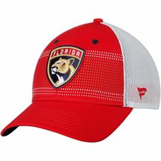 43c214b3e Men s Florida Panthers Fanatics Branded Red White Iconic Grid Trucker  Adjustable Hat