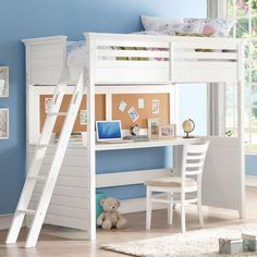 Lacey White Twin Loft Bed with Desk and Cork Board