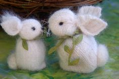 Mama and Baby Angora standing Bunnies 2 eco friendly by woolcrazy, $30.00