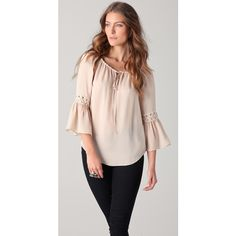Haute Hippie Peasant Top with Eyelets, found on #polyvore. #women