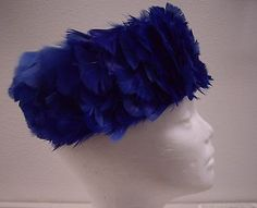 Mid Century hat woman Brilliant Royal Blue Pill Box feathers Excellent Cond