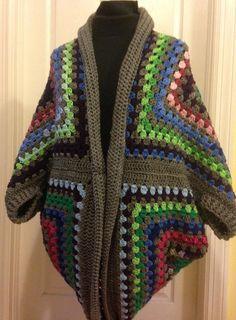 Granny Square Cocoon Sweater Cardigan by HandmadebyHeikeHeart