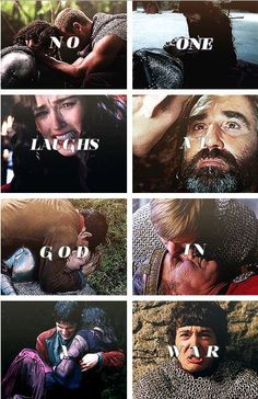 No one laughs at God in a war -- and the deaths of Gwaine, Elyan, Morgause, Balinor, Arthur, Uther, Freya, and Kara.