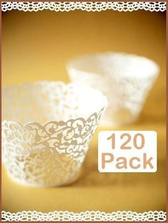 120 x White Pearl Lace Filigree Wedding Cupcake Wrapper Baking Cake Cups Wraps #CakeDecorations