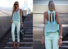 Jessica Stein - Dion Lee Shirt, Zara Mint Pants, Ellery Cremaster Sunglasses, Michael Kors Sports Watch - Spearmint | LOOKBOOK