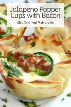 Jalapeno popper cups are filled with cream cheese, jalapeno peppers and mozzarella cheese, then topped with crispy bits of bacon. They're baked in a muffin tin for an easy snack or dinner anytime! #appetizer #jalapenopoppercups