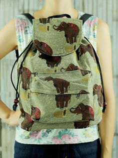 Elephant Abstract tribal native backpack/ School Bag/ Ethnic rucksack/ holiday bag /Hippie / Boho/ Folk / gypsy / handwoven/ tapestry bag