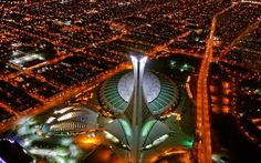 Aerial view of the Montreal Olympic Stadium