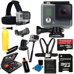 GoPro HERO Action Camera HD Camcorder Waterproof With Deluxe Hard Carrying Case + Head Strap + Chest Strap + Monopod + 32GB SDHC MicroSD Memory Card Complete Deluxe Accessory Bundle