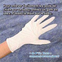 Il existe un truc efficace pour enlever facilement les poils de chien des tissus. Il suffit d'utiliser un gant en latex.  Découvrez l'astuce ici : http://www.comment-economiser.fr/enlever-les-poils-de-chien.html?utm_content=bufferb397e&utm_medium=social&utm_source=pinterest.com&utm_campaign=buffer