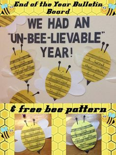 "Free printable bee pattern for this end of the school year bulletin board or classroom display - We Had An ""Un-BEE-lievable"" Year!. https://lessons4littleones.com/2016/05/12/end-of-the-year-bulletin-board-pattern-we-had-an-un-bee-lievable-year/"