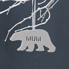 Personalised Polar Bear Christmas Decoration in white acrylic