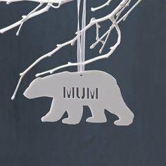 Personalised Polar Bear Christmas Decoration in white acrylic